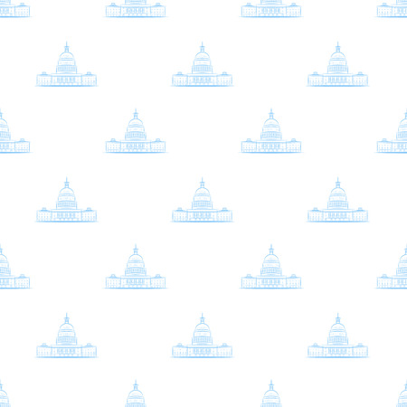 White house pattern seamless vector repeat for any web design. United States of America, Washington, Capitol. Vector illustration, eps 10