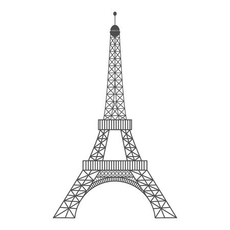 Ilustración de vector moderno de la Torre Eiffel. Ilustración de vector negro. Símbolo romántico en Francia. Imagen bosquejada de París. Concepto de turismo. Hito de la Torre Eiffel. Ilustración vectorial