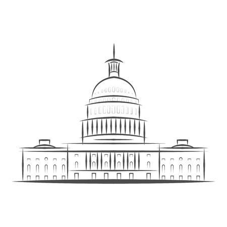 Icône du gouvernement des États-Unis. Logo du bâtiment du Capitole. Conception haut de gamme. Icône de fine ligne de vecteur isolé sur fond blanc. Eps 10