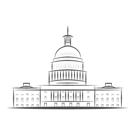 United States Government icon. Capitol building logo. Premium design. Vector thin line icon isolated on white background. Eps 10