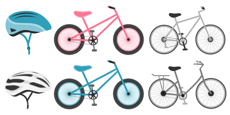 Various bicycles and helmets icons in set collection for design. The type of transport vector symbol stock vector illustration. eps 10