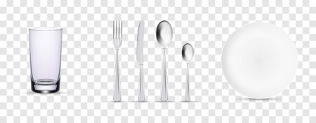 Set of cutlery of fork, spoon, knife and plate. Vector illustrations on transparent background. Ready for your design.