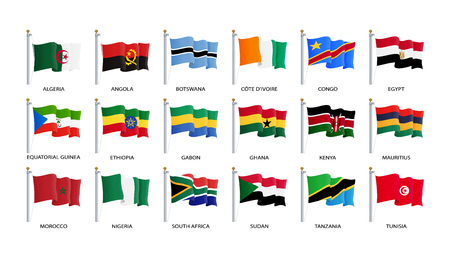 Waving flag icon, flags of Africa countries sorted alphabetically. Vector illustration, eps 10.