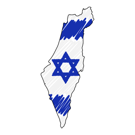 Israel map hand drawn sketch. Vector concept illustration flag, childrens drawing, scribble map. Country map for infographic, brochures and presentations isolated on white background. Vector illustration , eps 10. Stock Illustratie