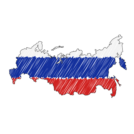 Russia map hand drawn sketch. Vector concept illustration flag, childrens drawing, scribble map. Country map for infographic, brochures and presentations isolated on white background. Vector illustration , eps 10. Illustration