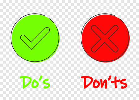 Dos and donts sign icon in flat style. Like, unlike vector illustration on transparent background. Yes, no business concept. Eps 10