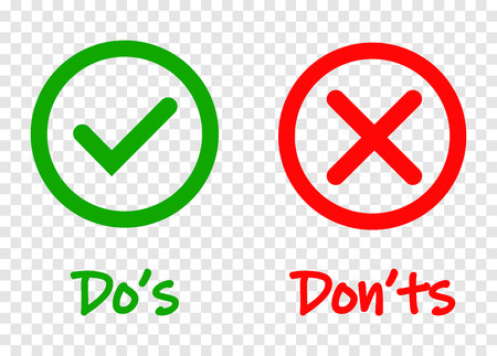 Do and Dont check tick mark and red cross icons isolated on transparent background. Vector Dos and Donts checklist or choice option symbols in circle frame, eps 10 Çizim