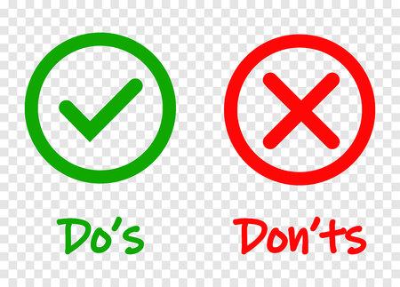 Machen und nicht Häkchen und rote Kreuzsymbole auf transparentem Hintergrund isoliert. Vector Dos and Donts-Checkliste oder Wahloptionssymbole im Kreisrahmen, eps 10 Vektorgrafik