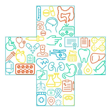 Abstract concept of medicine Medicals icons texture in cross shape composition background - vector illustration, eps 10
