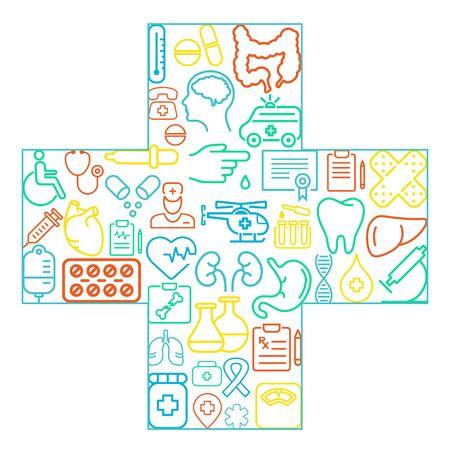 Abstraktes Konzept der Medizin Medizin Symbole Textur in Kreuzform Zusammensetzung Hintergrund - Vektor-Illustration, eps 10