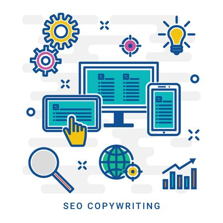 Seo copywriter and seo copywriting. Creative writing of articles and information, seo website promotion, work in office and freelance. Illustration thin line design of colorful icons, infographics elements. eps 10 Ilustrace