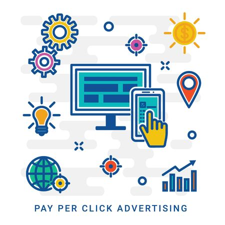 Internet marketing, pay per click advertising, sponsored listing, paid search marketing. Linear style concept. Vector banner, icon, illustration. Editable stroke, eps 10.