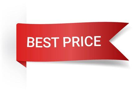 Red Vector Illustration Sign Best Price. Illustrations For Promotion Marketing For Prints And Posters, Menu Design, Shop Cards, Cafe, Restaurant Badges, Tags, Packaging etc. eps 10 Illustration