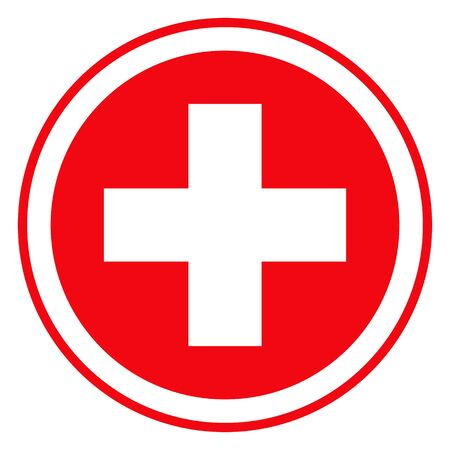 First aid. Medical cross vector icon. Medicinal and pharmacy sign. Vetor illustration Illustration