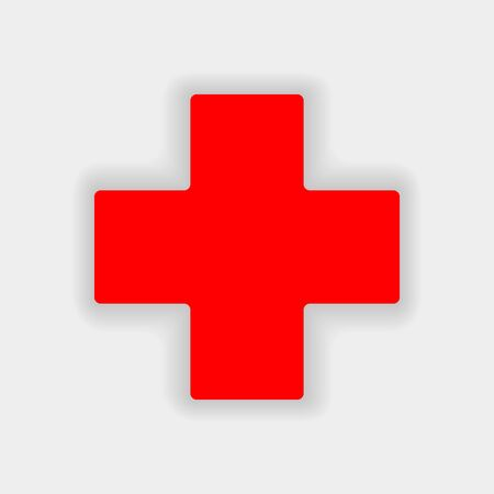 White cross in a red circle. First aid icon.