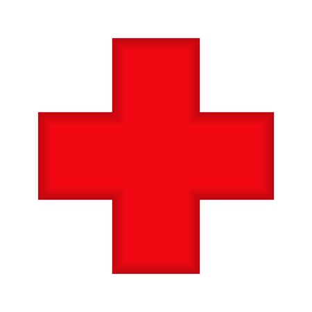 white cross in a red circle which is used to refer to medicine with a shadow