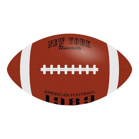 American Football, rugby ball isolated on a white background. Realistic Vector Illustration. Rugby sport.