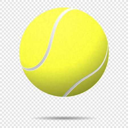 Vector realistic flying tennis ball closeup isolated on transparent background.