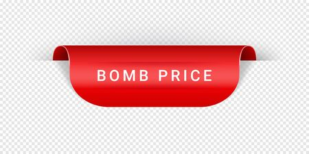 Bomb Price Vector Sticker, Tag, Banner, Label, Sign Or Ribbon Realistic Red Origami Style Vector Paper Ribbon For Web Banner Or Print Poster.