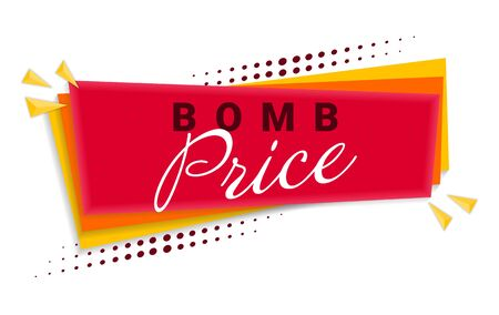 Bomb Price Banner Template Design. Vector Illustration
