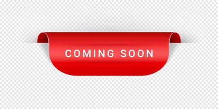 Coming Soon Vector Sticker, Tag, Banner, Label, Sign Or Ribbon Realistic Red Origami Style Vector Paper Ribbon For Web Banner Or Print Poster. 矢量图像
