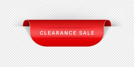 Clearance Sale Vector Sticker, Tag, Banner, Label, Sign Or Ribbon Realistic Red Origami Style Vector Paper Ribbon For Web Banner Or Print Poster Imagens - 127735039
