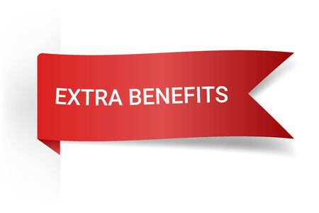 Extra Benefits Realistic Detailed Curved Paper Banner. Ribbons With Space For Text. Isolated On White Background.