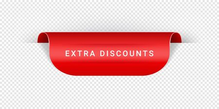 Extra Discounts Vector Sticker, Tag, Banner, Label, Sign Or Ribbon Realistic Red Origami Style Vector Paper Ribbon For Web Banner Or Print Poster.