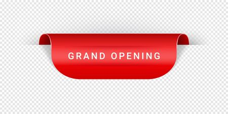 Grand Opening Vector Sticker, Tag, Banner, Label, Sign Or Ribbon Realistic Red Origami Style Vector Paper Ribbon For Web Banner Or Print Poster.