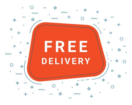 Free Delivery Speech Bubble Banner Sign, Design Template. Business Label Promo Offer 矢量图像