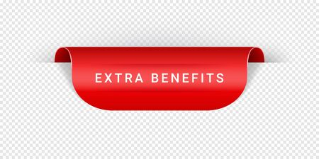 Extra Benefits Vector Sticker, Tag, Banner, Label, Sign Or Ribbon Realistic Red Origami Style Vector Paper Ribbon For Web Banner Or Print Poster.