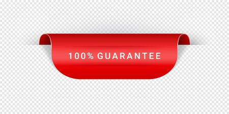 Guarantee Vector Sticker, Tag, Banner, Label, Sign Or Ribbon Realistic Red Origami Style Vector Paper Ribbon For Web Banner Or Print Poster. Ilustração
