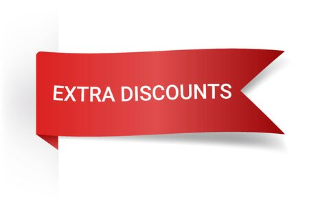 Extra Discounts Realistic Detailed Curved Paper Banner. Ribbons With Space For Text. Isolated On White Background. Vector Illustration. Design Element. Banque d'images - 127735023