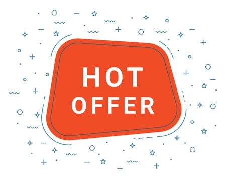Hot Offer Speech Bubble Banner Sign, Design Template. Business Label Promo Offer. Eps 10