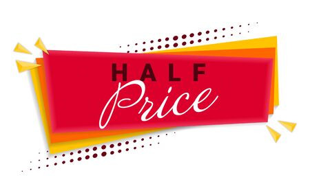 Half Price Banner Template Design. Ilustração