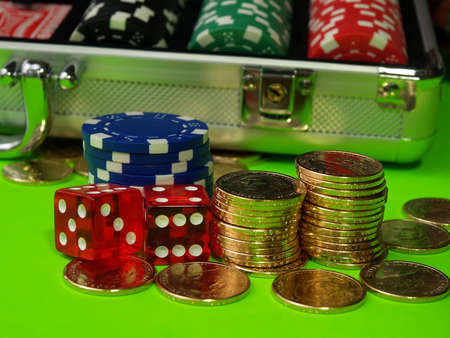 New dollar coins and casino chips Stock Photo - 876180