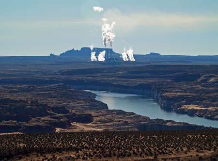 colorado river with power plant on the backgrond photo