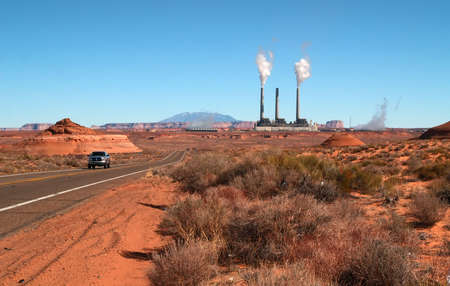 The landscape near Page, Arizona with power plant on the backgrond