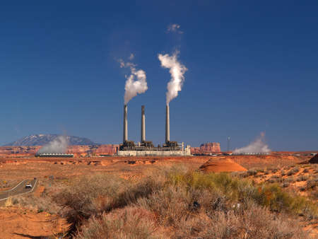 The landscape near Page, Arizona with power plant on the backgrond photo
