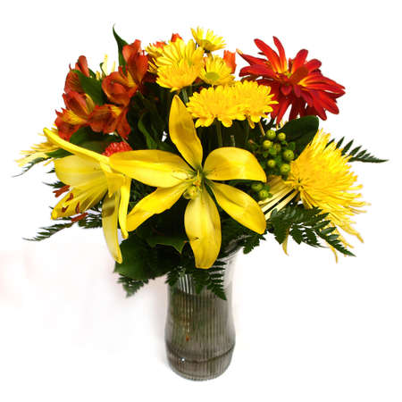 flower arrangement on white background for easy cutout for many purposes