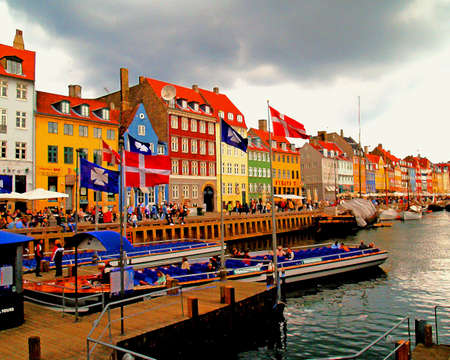 street cafes in copenhagen in painting style photo