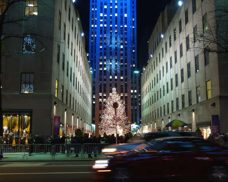 light display: A holiday light display at Rockefeller Center in NYC
