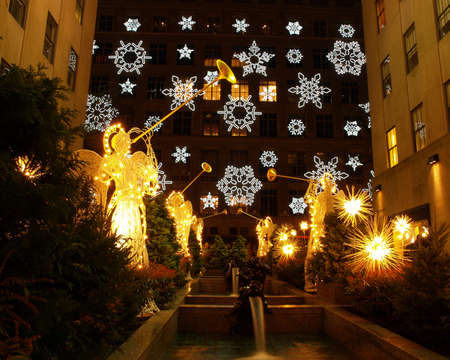 A holiday light display at Rockefeller Center in NYC