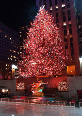 Christmas tree lighting at Rockefeller Center in NYC