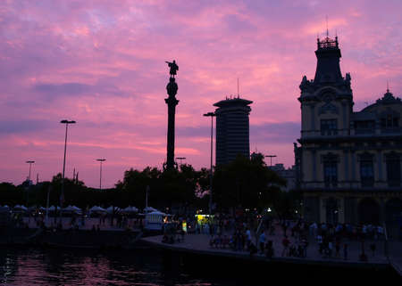 A Statue of Columbus at sunset in Barcelona photo