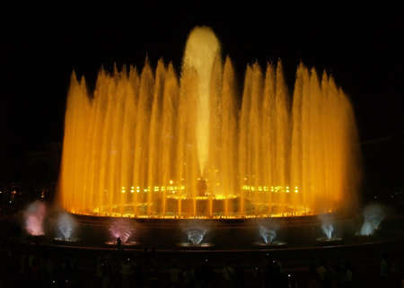 Montjuic (magic) fountain in Barcelona at night photo