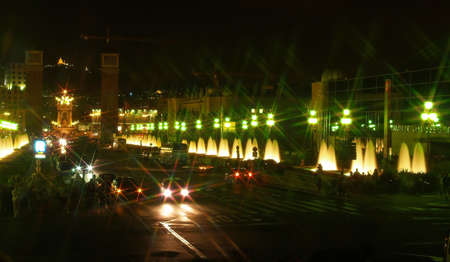 Street at Montjuic (magic) fountain in Barcelona at night Stock Photo - 882812