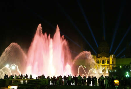colourfully: Montjuic (magic) fountain in Barcelona at night
