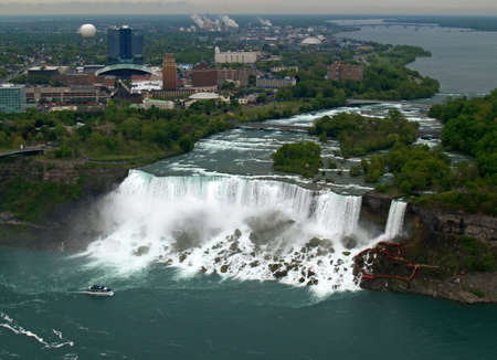 Aerial view of Niagara Falls between US and Canada  photo