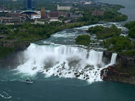 Aerial view of Niagara Falls between US and Canada Stock Photo - 907688